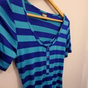 Blue striped maternity midi dress
